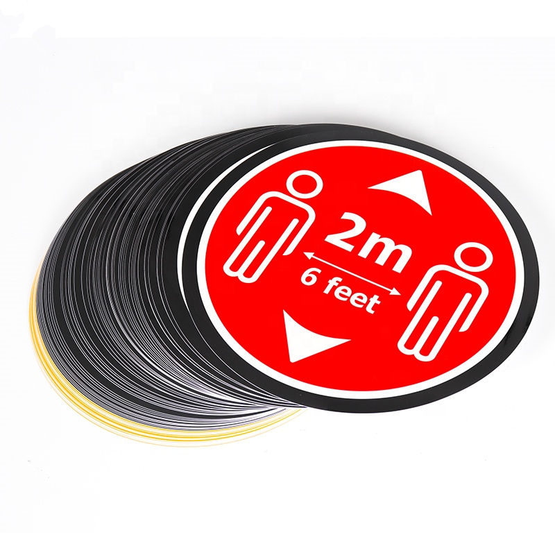 Custom printed safety distance stickers