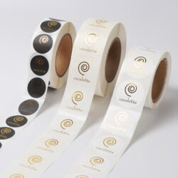 Custom printing self adhesive gold foil embossed label colourful round sticker 3