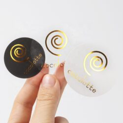 Custom printing self adhesive gold foil embossed label colourful round sticker 5